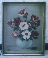 Altes Ölgemälde  Platte - Blumenstraus  Blumen Vase - Stillleben - E.S  signiert