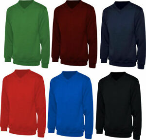 Boys Mens Unisex Kids Plain V-Neck Fleece Sweatshirt School Pull Over Jumper Top