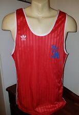 Adidas vintage vest shiny strips red trefoil Medium/ Large