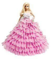 Barbie Pink Wedding Dress Gown Sweetheart Handmade Layered Ruffle for barbie
