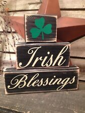 Country Primitive Stacking Block Irish Blessings Sign Handmade Home Decor