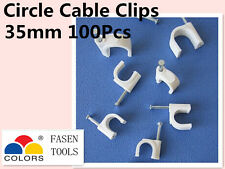 100Pcs 35mm Circle White Cable Clips Cable Plastic Nail