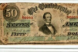 "$50 ""CONFEDERATE"" ""RED SERIALS/GREEN OVERPRINT"" 1800'S $50 RED SERIALS!! RARE!!!"