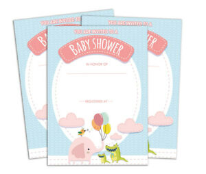 Baby Shower Printable Fill or Write Invites Party Supplies 28 Pcs -DS-IN231A