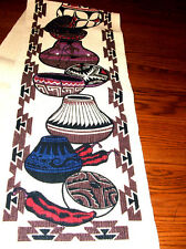 "Table Runner 13.5x72"" + Fringed Ends Native American Southwest Pottery Design"