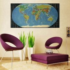 Vintage World Map Home Decor Detailed Poster Wall Chart Retro Matte Paper NEW