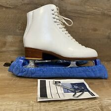 Nice! Women's Ice Skates White Leather Riedell 320 Wilson Blades Excel Size 8