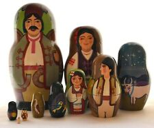Vintage Russian Nesting Matryoshka Dolls 10 Pieces Farm Family Artist Signed