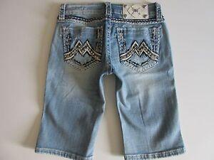 NWT Miss Me Rhinestone Studded 'M' Pocket Destroyed Stretch Bermuda Shorts 26