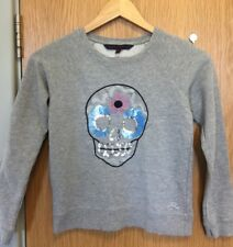 French Connection Girls Size 10 - 11 Years Skull Sequin Embelished Jumper FCUK