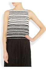 Alice + Olivia Adara striped sequined silk tank NEW Black White size 2 XS