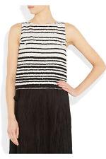 Alice + Olivia Adara striped sequined silk tank NEW Black White size 2 XS