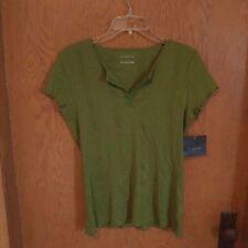 Liz Claiborne Womens Shirt Top Medium Cap Sleeve V-Neck Cotton Green Nice New H