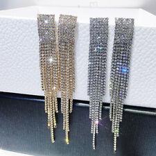 Fashion Long Tassel Blue Crystal Earrings Women Geometric Drop Dangle Ear Stud