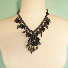 """18"""" Classic Vintage Short Tassel Black Hematite Handmade Seed Bead Necklace"""