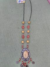 ETHNIC STYLE NECKLACE WITH OVAL ORANGE PENDANT