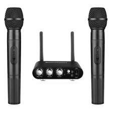 Karaoke Audio Dual 2Ch UHF Handheld Wireless 2 Microphone Mic Mixer System NEW