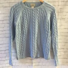 LL Bean Women's Cable Knit Sweater Light Blue Small