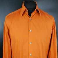 HUGO BOSS Mens Formal Shirt 40 15.75 Long Sleeve Orange Regular Fit Cotton