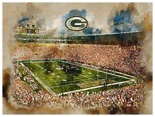 "Green Bay Packers Poster Watercolor Art Print Man Cave Decor 12x16"""
