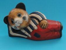 "VINTAGE ARTS & CRAFTS STYLE CARVED WOOD CAT FIGURINE ~ 9"""