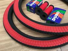 """PAIR of 20"""" BMX Bicycle Black and Red Street Tires & Tubes 20x1.95 *FREE GRIPS"""