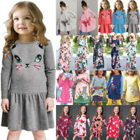 Kids Baby Girls Cartoon Floral Long Sleeve Striped Party Pageant Dress Clothes