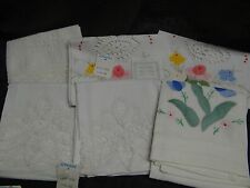 "Lot of 6 Vintage White Linen Embroidered Napkins 18-22x13"" Unmatched Flowers"