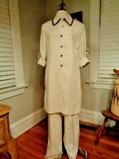 ST. JOHN SPORT by Marie Gray linen blend pant suit long tunic women's M/L