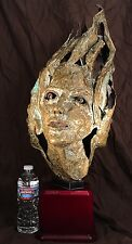 Antique Repoussé Copper Brazed 3 Female Face Life Sculpture Unknown Steampunk!