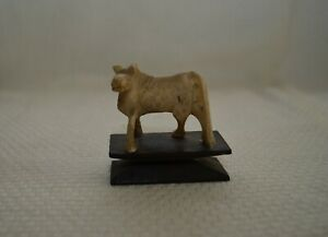 1930's Antique Hand Carved Cow Figurine on Dark Wood Base, USA  - Collectible