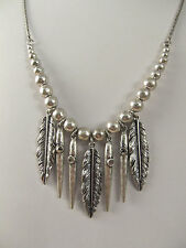 NWT Lucky Brand Silver-Tone Feather Fringe Long-Length Pendant Necklace