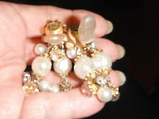 earrings massive runway signed lawrence larry vrba clips pearl chandelier bridal