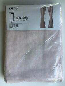 "New - IKEA LENDA Cotton Curtains with tie-backs, 1 pair, light pink, 55x98 """
