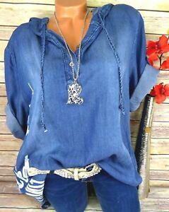 Bluse Shirt Hemd Tunika Fischerhemd Kapuze Viskose Jeans Italy Blau 44 46