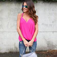 Women's Summer Vest Top Sleeveless Loose Shirts Blouse Casual Tank Tops T-Shirt