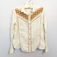 ANTHROPOLOGIE HOLDING HORSES IVERIE Embroidered Button Down Shirt Size Large