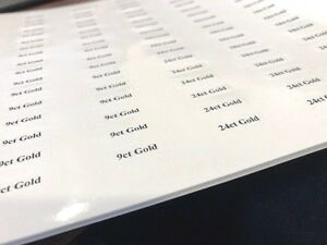 Carat Weight Tickets / Stickers / Labels for Jewellery Displays (Adhesive)
