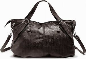 trendige Shoppertasche Umhängetasche Schultertasche Tasche dunkel-braun Viala
