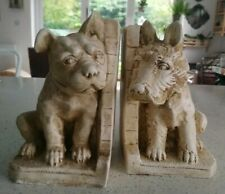 Vintage Pair Of Large Chalkware / Plaster Dog  Bookends