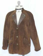 BROWN ~ LEATHER German Women Winter Hunting Western Ranch Over Coat JACKET 12 M