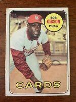 """1969 Topps Baseball # 200 Bob Gibson """"Hall of Fame"""" (Cardinals) """"VG+/EX"""""""