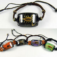 REAL GOLDEN SCORPION BLACK LUCITE BANGLE BRACELET INSECT JEWELRY TAXIDERMY GIFT