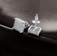 Men 14k White Gold Sterling Silver Lab Diamond Square Screw Back Stud Earrings