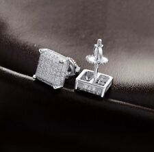 Diamond Square Screw Back Stud Earrings Men 14k White Gold Sterling Silver Lab