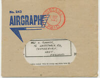 2466 1942 Airgraph from NAIROBI, KENYA. East Africa complete w envelope VARIETY