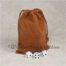 "NEW 5"" x 7"" Brown Velveteen Cloth Dice Bag RPG D&D Tokens Game Counter Pouch"