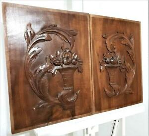 Pair scroll leaves decorative panel Antique french carving architectural salvage