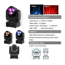 3x4in1 15w RGBW Flower Effect Moving Head LED Light DMX512 DJ Club Disco Stage
