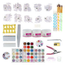 Pro Nail Art Set Acrylic Liquid Glitter Powder File Brush Form Tips Tool Kit